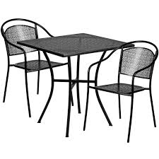 sq black patio table set co chr bk cast aluminum round patio table chairs black