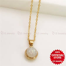 ls jewelry opal pearl stainless gold plated necklace for women