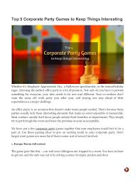 Top 5 Corporate Party Games To Keep Things Interesting