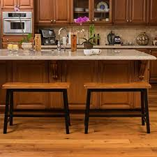 bar stool bench. Counter Bar Stool Bench Dining Wood Wide Saddle Kitchen Chair Seating (Set Of 2)