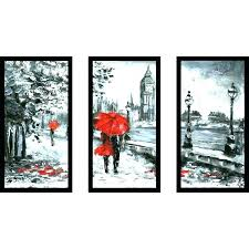 framed wall art set of 3 section romance sets