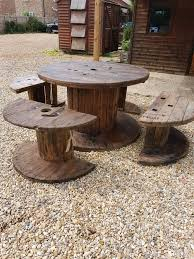 Garden table furniture outdoor Cable reel table and chairs 8 seater very  large wooden vintage