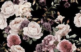 Purple & Pink Dark Floral Wallpaper ...