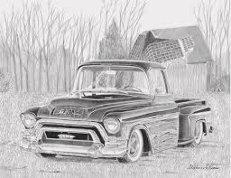 1955 Gmc Pickup Truck Art Print Drawing by Stephen Rooks