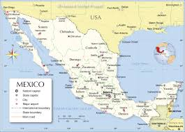 administrative map of mexico  nations online project