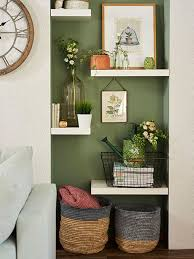alcove floating shelving display prints vases