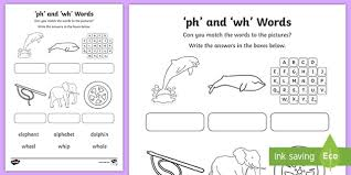 These worksheets help kids learn to use letters to make sounds and words. Wh And Ph Sounds Matching Activity Teacher Made