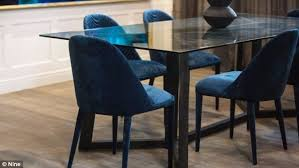 plush six globewest velvet chairs 395 each stand out in the dining area