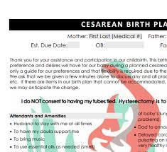 C Section Birth Plan Family Centered Birth Plan Sample
