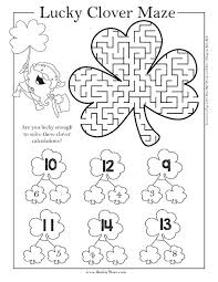 lucky clover maze worksheet solving equations coloring two step st thanksgiving worksheets answers