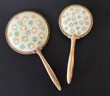 hand held mirror vintage. vintage gold toned brush \u0026 hand held mirror vanity set blue floral design usa