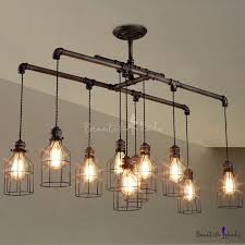 stunning linear chandelier lighting brushed iron 1 tier with wire guard intended for
