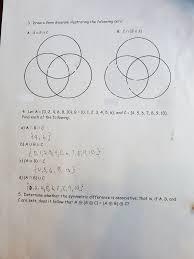 Drawing A Venn Diagram Solved 3 Draw A Venn Diagram Illustrating The Following