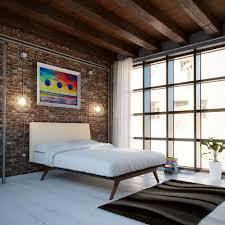 ... Large Size Mid Century Modern Bedroom Ideas White Varnished Wooden  Frame Black Book Shelf Brown Laminated ...