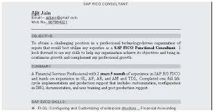 Sap Fico Sample Resume Sample Resume For Sap Fico Consultant Terrific Sap Fico Support