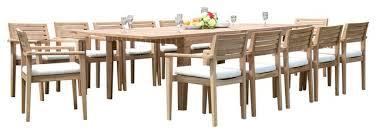 13 piece teak dining set 122 extn rectangle table 12 montana stacking