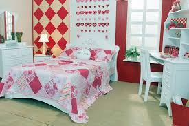 pink and white furniture. bright cute girls room with pink red and white theme furniture