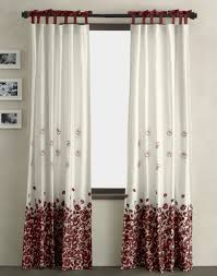 Living Room Curtain Styles White Polyester With Red Flower Pattern Curtain On Black Wooden