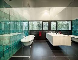 view in gallery reflective tile turquoise color thumb 630xauto 52609 top 10 tile design ideas for a modern bathroom