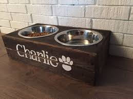 rustic custom made elevated wooden dog bowl feeder with two bowls by bluecharliedesigns on