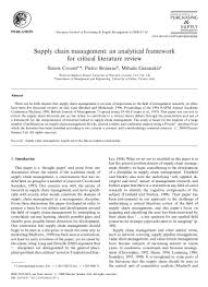 supply chain management a analytical framework for critical literat