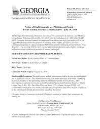 Notice of Draft Groundwater Withdrawal Permit – Bryan County Board of  Commissioners – July 19, 2018
