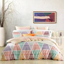 mint green c and yellow colorful geometric zigzag pattern stylish southwestern style unique full queen size bedding sets