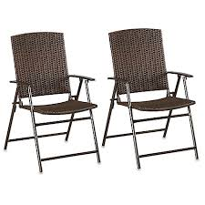 Barrington Wicker Bistro Folding Chairs in Brown Set of 2 Bed
