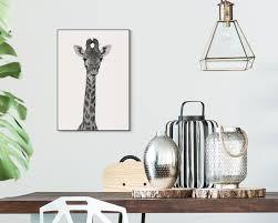 Wandbild Giraffenhals Schwarz Weiß Gerahmt 50x70 Cm