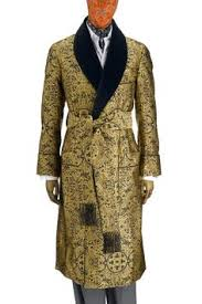 A quilted dressing gown. My father had a shorter version which was ... & The Rococo gown is quite sumptuous in its appearance and execution. The  baroque-inspired gold and black silk brocade fabric lends an undeniable  opulence, ... Adamdwight.com