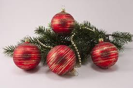 4 Weihnachtskugeln 6cm Rot Matt Gold Geringelt Christbaumschmuck Aus Lauscha