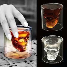 4pcs set double wall skull skeleton whisky wine glass c