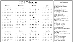 Printable Calendars 2020 With Holidays Indonesia 2020 Printable Calendar Printable February