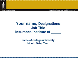 Insurance Designations Ppt Welcome To The Insurance Institute Powerpoint