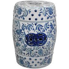 oriental furniture 18 in fl blue and white porcelain garden stool