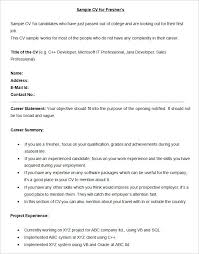 Resume Summary For Freshers Marieclaireindia Com