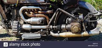 engine and transmission custom rat bike stock photo royalty