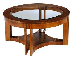 solid wood coffee table with glass top round and large cylina 4 stools