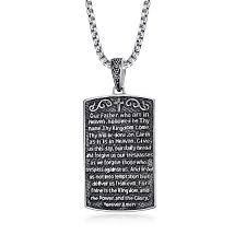 carbon fiber dog tag elegant men english lords prayer cross dog tag our