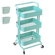 office rolling cart. Narrow Rolling Cart 3 Tier Metal Utility With Wheels Shelf Storage Office M