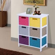 homcom wood storage cabinet 6 drawer shelf unit cupboard closet