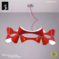 ora 12 light low energy ceiling pendant in red finish