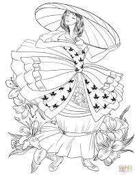 Victorian Lady In The Big Hat Coloring Page Free Printable