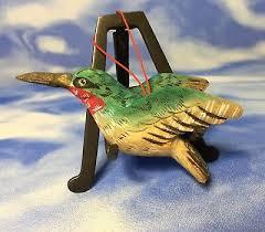 htf beautiful 3 hand painted wood hummingbird ornament glass eyes euc