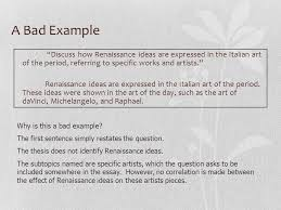 the ap european history response question the response  a bad example discuss how renaissance ideas are expressed in the italian art of the period