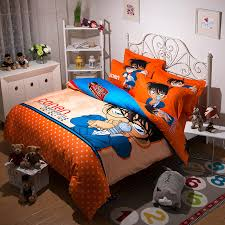 anese anime conan bedding set twin full queen king cartoon orange red polka dot