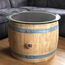 belly wine barrel coffee table with 70s