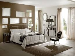 bedroom brown wall theme and white bedding set on the bed added by soft brown