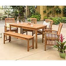 Outdoor dining sets with umbrella Backyard Forest Gate Arvada 6piece Acacia Wood Outdoor Dining Set Footymundocom Outdoor Patio Dining Sets Dining Tables Chairs Bed Bath Beyond