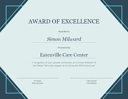 School Certificates Template Award Of Excellence Certificate Template Visme